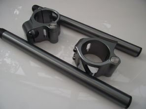 Billet CNC clip on handlebars titanium colour hinged yoke 50mm GSXR R1 R6 etc